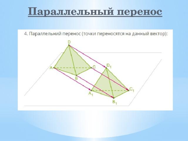 Параллельный перенос Параллельный перенос – частный случай движения, при котором все точки пространства перемещаются в одном и том же направлении на одно и то же расстояние.