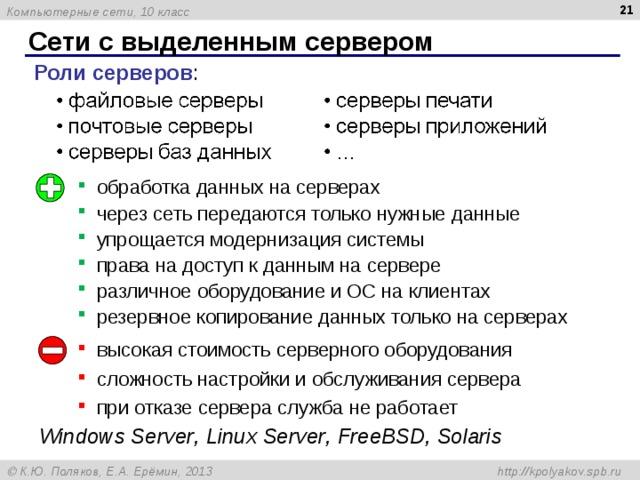 Сети с выделенным сервером Роли серверов : обработка данных на серверах через сеть передаются только нужные данные упрощается модернизация системы права на доступ к данным на сервере различное оборудование и ОС на клиентах резервное копирование данных только на серверах высокая стоимость серверного оборудования сложность настройки и обслуживания сервера при отказе сервера служба не работает Windows Server , Linux  Server , FreeBSD , Solaris