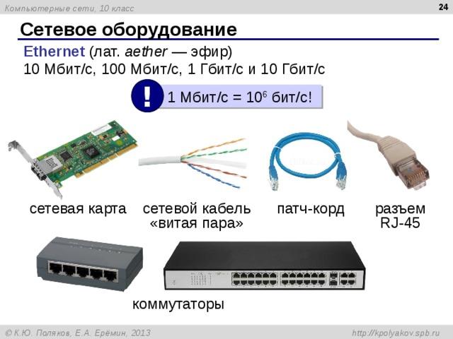 23 Сетевое оборудование Ethernet  (лат. aether — эфир) 10Мбит/с, 100Мбит/с, 1Гбит/с и 10Гбит/с !  1 Мбит /c = 10 6 бит /c ! патч-корд сетевая карта сетевой кабель  «витая пара» разъем RJ -45 коммутаторы
