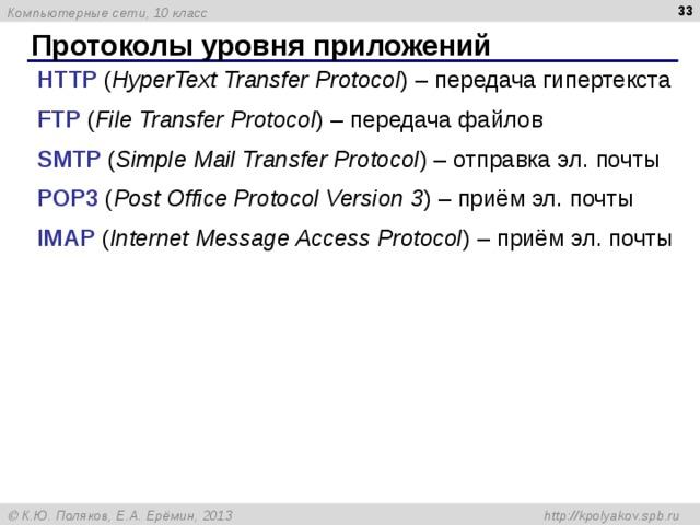 Протоколы уровня приложений HTTP ( HyperText Transfer Protocol )  – передача гипертекста FTP ( File Transfer Protocol ) – передача файлов SMTP ( Simple Mail Transfer Protocol ) – отправка эл. почты POP3 ( Post Office Protocol Version 3 ) – приём эл. почты IMAP ( Internet Message Access Protocol ) – приём эл. почты