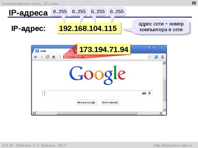 IP- адреса 0..255 0..255 0..255 0..255 адрес сети + номер компьютера в сети 19 2 .16 8 . 104 .115 IP- адрес: 173.194.71.94