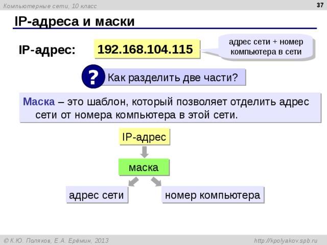 IP- адреса и маски адрес сети + номер компьютера в сети 19 2 .16 8 . 104 .115 IP- адрес: ?  Как разделить две части? Маска – это шаблон, который позволяет отделить адрес сети от номера компьютера в этой сети. IP -адрес маска адрес сети номер компьютера