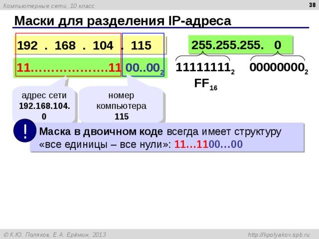 Маски для разделения IP- адреса 255.255.255. 0 19 2 .  16 8 . 104 .  115 11111111 2 00000000 2 11……………….11  0 0..0 0 2 FF 16 адрес сети 192.168.104.0 номер компьютера 1 15 !  Маска в двоичном коде всегда имеет структуру   «все единицы – все нули» :  11…11 00…00
