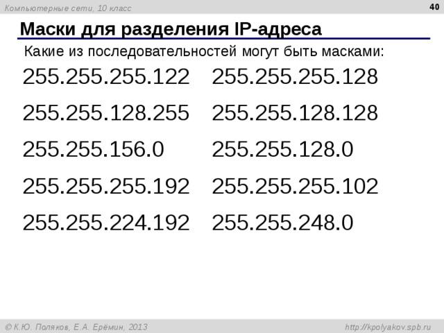 Маски для разделения IP- адреса Какие из последовательностей могут быть масками: 255.255.255.122 255.255.255.128 255.255. 128 .255 255.255. 128 .128 255.255.156.0 255.255.128.0 255.255.255.192 255.255.255.102 255.255.224.192 255.255.248.0