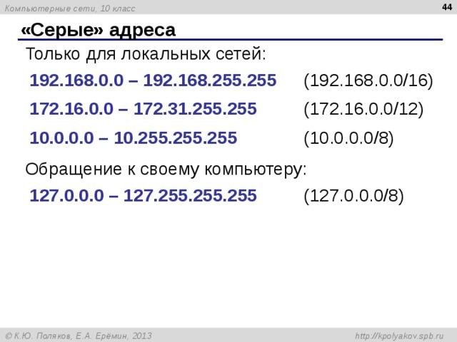 «Серые» адреса Только для локальных сетей: 192.168.0.0 – 192.168.255.255  (192.168.0.0/16)   172.16.0.0 – 172.31.255.255   (172.16.0.0/12)  10.0.0.0 – 10.255.255.255   (10.0.0.0/8) Обращение к своему компьютеру: 1 27 . 0 .0.0 – 1 27 . 255 .255.255   (1 27 . 0 .0.0/ 8 )