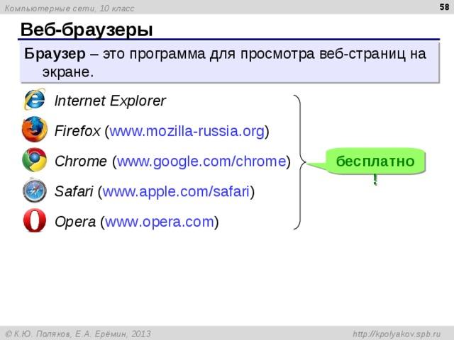 Веб-браузеры Браузер – это программа для просмотра веб-страниц на экране.  Internet Explorer  Firefox ( www.mozilla-russia.org ) бесплатно!  Chrome ( www.google.com/chrome )  Safari ( www.apple.com/safari )  Opera ( www . opera . com )