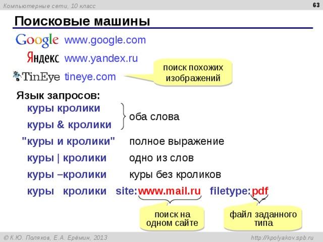 Поисковые машины www . google . com www . yandex . ru tineye . com  поиск похожих изображений Язык запросов: куры кролики оба слова куры & кролики
