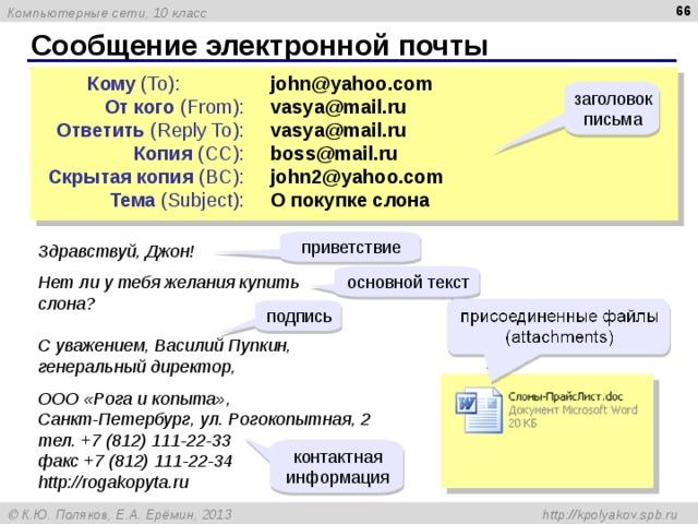 65 Сообщение электронной почты Кому ( To): От кого ( From ) : Ответить ( Reply To ) : Копия ( CC ) : Скрытая копия ( BC ) : Тема ( Subject ):   john@yahoo.com   vasya@mail.ru   vasya@mail.ru   boss@mail.ru   john2@yahoo.com   О покупке слона заголовок письма приветствие Здравствуй, Джон! Нет ли у тебя желания купить слона? С уважением, Василий Пупкин, генеральный директор, ООО «Рога и копыта» , Санкт-Петербург, ул. Рогокопытная, 2 тел. +7 (812) 111-22-33 факс +7 (812) 111-22-34 http://rogakopyta.ru основной текст подпись контактная информация