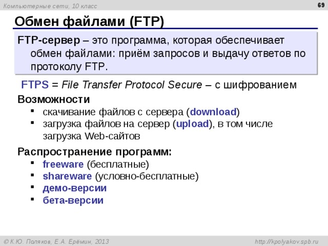 Обмен файлами ( FTP ) FTP -сервер – это программа, которая обеспечивает обмен файлами: приём запросов и выдачу ответов по протоколу FTP . FTPS = File Transfer Protocol Secure – c шифрованием Возможности скачивание файлов c сервера ( download ) загрузка файлов на сервер ( upload ), в том числе загрузка Web- сайтов скачивание файлов c сервера ( download ) загрузка файлов на сервер ( upload ), в том числе загрузка Web- сайтов Распространение программ: