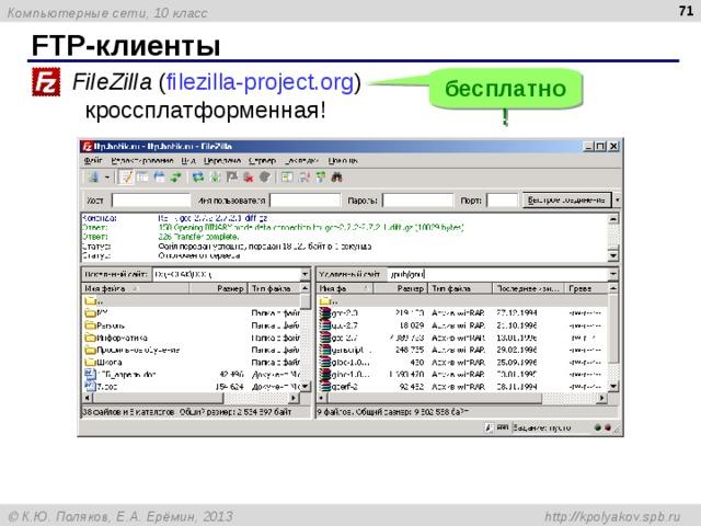 FTP- клиенты FileZilla ( filezilla-project.org )  кроссплатформенная! бесплатно!