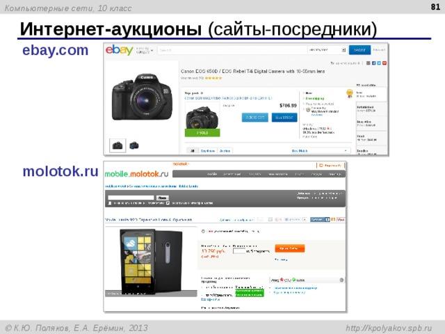 Интернет-аукционы (сайты-посредники) ebay.com molotok.ru