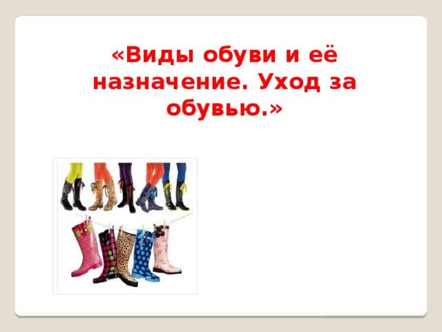 «Виды обуви и её назначение. Уход за обувью.»
