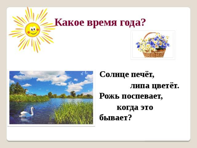 Какое время года? Солнце печёт,  липа цветёт.  Рожь поспевает,  когда это бывает?