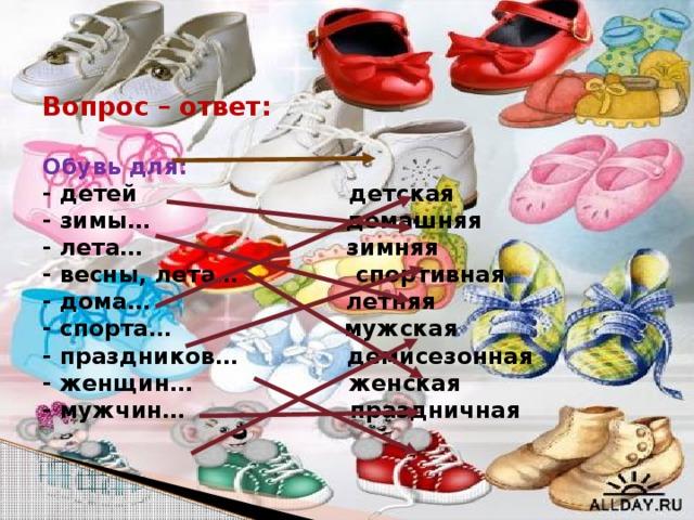 Вопрос – ответ:   Обувь для:  - детей детская  - зимы… домашняя  - лета… зимняя  - весны, лета… спортивная  - дома… летняя  - спорта… мужская  - праздников… демисезонная  - женщин… женская  - мужчин… праздничная