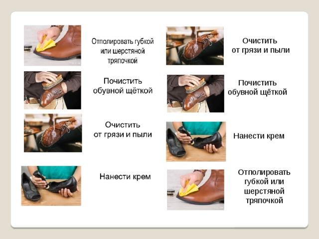 Очистить от грязи и пыли   Почистить обувной щёткой Нанести крем Отполировать губкой или шерстяной тряпочкой