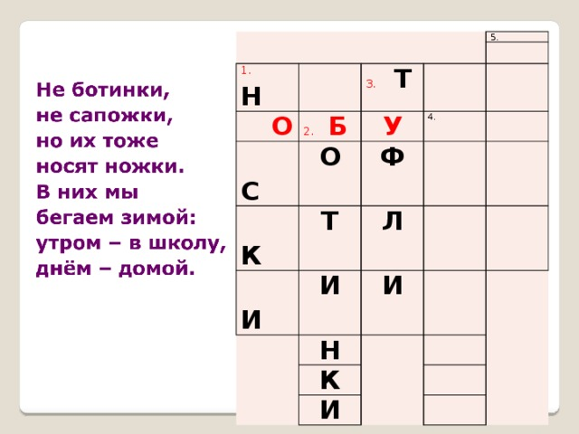 1. Н  О 5.  С 3.  Т 2. Б О  К У 4. Ф Т  И Л И И Н К И