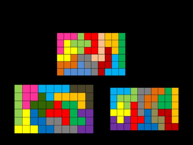 Известно, что из нескольких тысяч различных способов составления данного прямоугольника (фигуры, переходящие друг в друга при отражении или повороте, не считаются разными), только два удовлетворяют поставленному условию (во всяком случае, другие неизвестны). Второе решение замечательно тем, что прямоугольник можно разделить по внутренним линиям на две равные части.