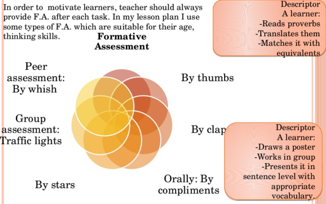 """In order to motivate learners, teacher should always provide F.A. after each task. In my lesson plan I use some types of F.A. which are suitable for their age, thinking skills. Descriptor A learner: -Reads proverbs -Translates them -Matches it with equivalents Formative Assessment By thumbs Peer assessment: By whish Group assessment: Traffic lights By claps"""" Descriptor A learner: -Draws a poster -Works in group -Presents it in sentence level with appropriate vocabulary. By stars Orally: By compliments"""