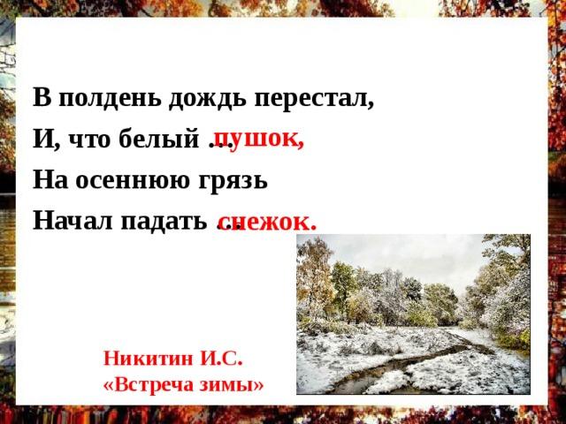 В полдень дождь перестал, И, что белый … На осеннюю грязь Начал падать …  пушок, снежок. Никитин И.С. «Встреча зимы»