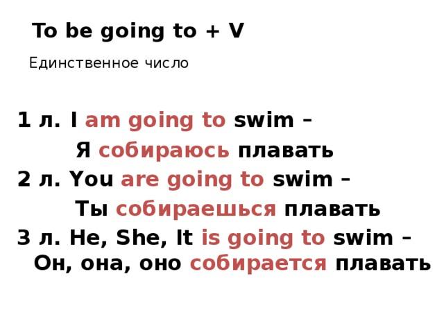 To be going to + V Единственное число 1 л.  I am going to swim –  Я собираюсь плавать 2 л. You are going to swim –  Ты собираешься плавать 3 л. He, She, It is going to swim – Он, она, оно собирается плавать