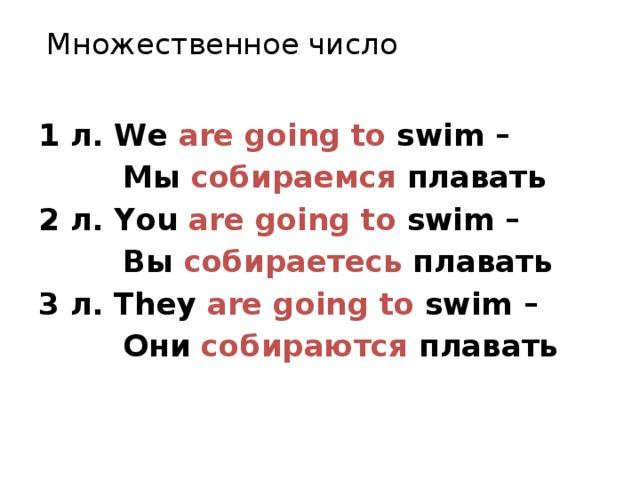 Множественное число 1 л. We are going to swim –  Мы собираемся плавать 2 л. You are going to swim –  Вы собираетесь плавать 3 л. They are going to swim –  Они собираются плавать