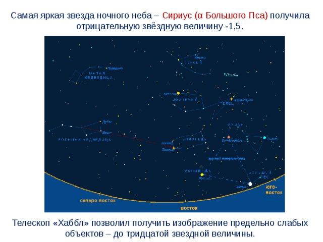 Самая яркая звезда ночного неба – Сириус (α Большого Пса) получила отрицательную звёздную величину -1,5. Телескоп «Хаббл» позволил получить изображение предельно слабых объектов – до тридцатой звездной величины.