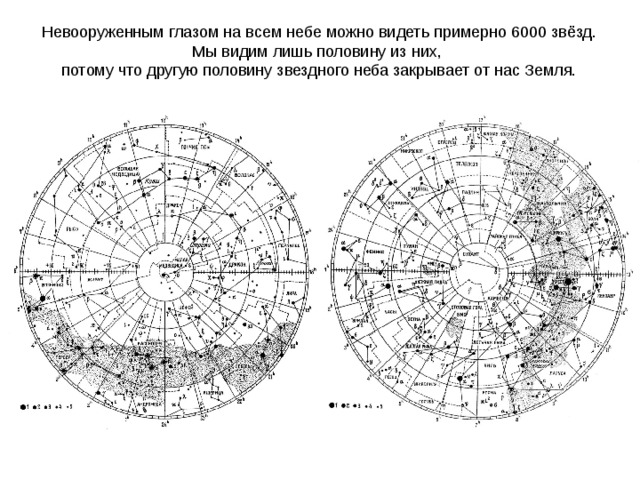 Невооруженным глазом на всем небе можно видеть примерно 6000 звёзд. Мы видим лишь половину из них, потому что другую половину звездного неба закрывает от нас Земля.