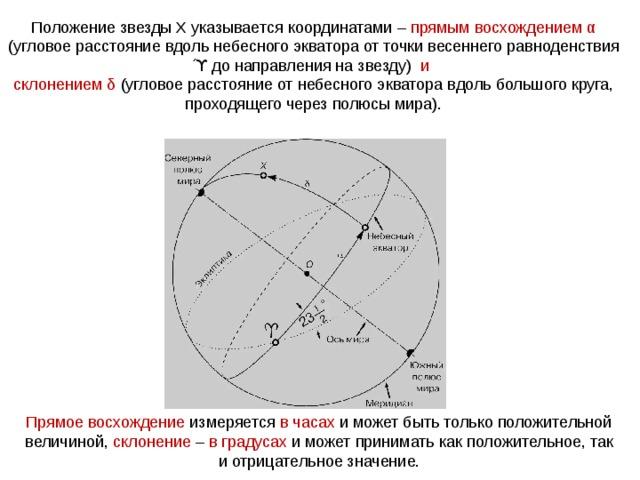 Положение звезды Х указывается координатами – прямым восхождением α (угловое расстояние вдоль небесного экватора от точки весеннего равноденствия ϓ до направления на звезду) и склонением δ (угловое расстояние от небесного экватора вдоль большого круга, проходящего через полюсы мира). Прямое восхождение измеряется в часах и может быть только положительной величиной, склонение – в градусах и может принимать как положительное, так и отрицательное значение.