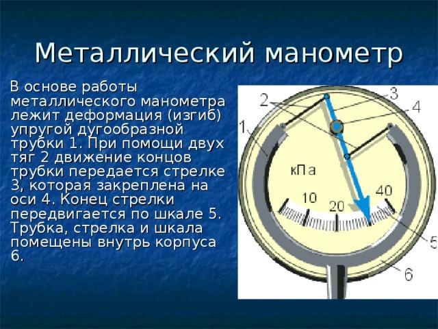 Металлический манометр  В основе работы металлического манометра лежит деформация (изгиб) упругой дугообразной трубки 1. При помощи двух тяг 2 движение концов трубки передается стрелке 3, которая закреплена на оси 4. Конец стрелки передвигается по шкале 5. Трубка, стрелка и шкала помещены внутрь корпуса 6.