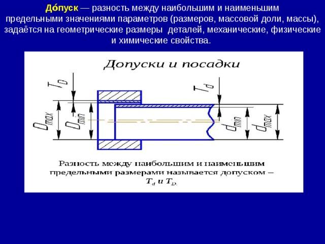 До́пуск  — разность между наибольшим и наименьшим предельнымизначениями параметров (размеров, массовой доли, массы), задаётся нагеометрические размеры  деталей, механические, физические ихимические свойства.
