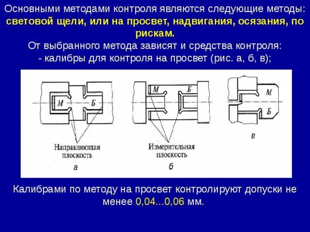 Основными методами контроля являются следующие методы: световой щели, или на просвет, надвигания, осязания, по рискам.  От выбранного метода зависят и средства контроля:  - калибры для контроля на просвет (рис. а, б, в); Калибрами по методу на просвет контролируют допуски не менее 0,04...0,06 мм.