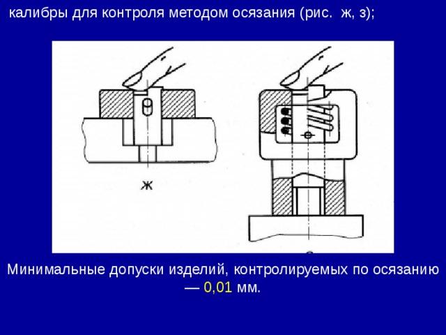 калибры для контроля методом осязания (рис. ж, з); Минимальные допуски изделий, контролируемых по осязанию — 0,01 мм.