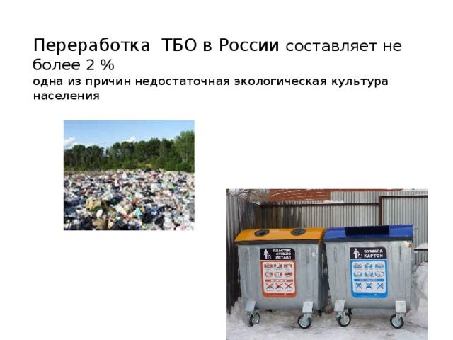 Переработка ТБО в России составляет не более 2 %  одна из причин недостаточная экологическая культура населения
