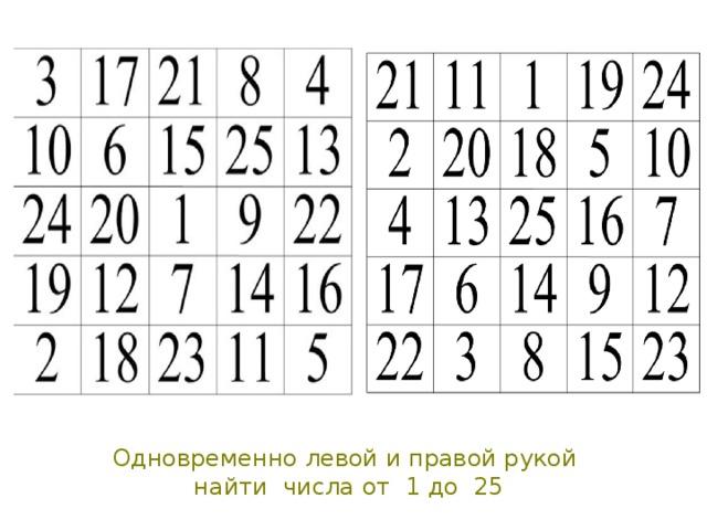 Одновременно левой и правой рукой  найти числа от 1 до 25