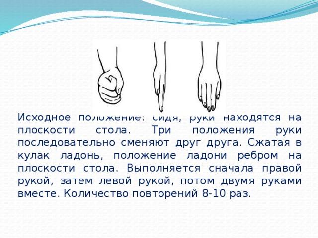 Исходное положение: сидя, руки находятся на плоскости стола. Три положения руки последовательно сменяют друг друга. Сжатая в кулак ладонь, положение ладони ребром на плоскости стола. Выполняется сначала правой рукой, затем левой рукой, потом двумя руками вместе. Количество повторений 8-10 раз.
