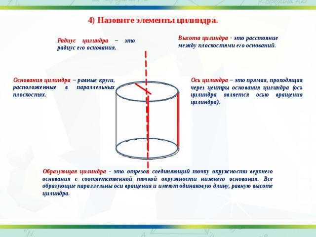 4) Назовите элементы цилиндра. Высота цилиндра - это расстояние между плоскостями его оснований. Радиус цилиндра – это радиус его основания. Основания цилиндра – равные круги, расположенные в параллельных плоскостях. Ось цилиндра – это прямая, проходящая через центры основания цилиндра (ось цилиндра является осью вращения цилиндра). Образующая цилиндра - это отрезок соединяющий точку окружности верхнего основания с соответственной точкой окружности нижнего основания. Все образующие параллельны оси вращения и имеют одинаковую длину, равную высоте цилиндра.