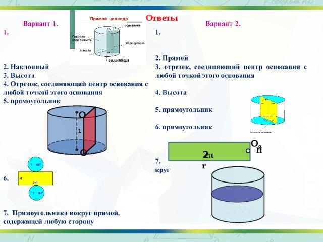 Ответы О 1 О 2 Н О 2 π r