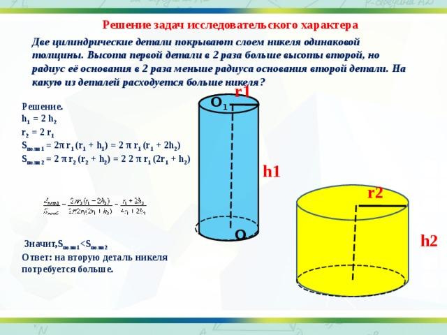 Решение задач исследовательского характера Две цилиндрические детали покрывают слоем никеля одинаковой толщины. Высота первой детали в 2 раза больше высоты второй, но радиус её основания в 2 раза меньше радиуса основания второй детали. На какую из деталей расходуется больше никеля?  r1 О 1 Решение. h 1 = 2 h 2 r 2 = 2 r 1 S полн 1 = 2 π r 1 (r 1 + h 1 ) = 2 π r 1 (r 1 + 2h 2 ) S полн 2 = 2 π r 2 (r 2 + h 2 ) = 2 2 π r 1 (2r 1 + h 2 )        Значит,S полн 1  полн 2 Ответ: на вторую деталь никеля потребуется больше.  h1 r2 О h2