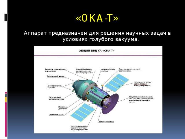 «ОКА-Т» Аппарат предназначен для решения научных задач в условиях голубого вакуума.