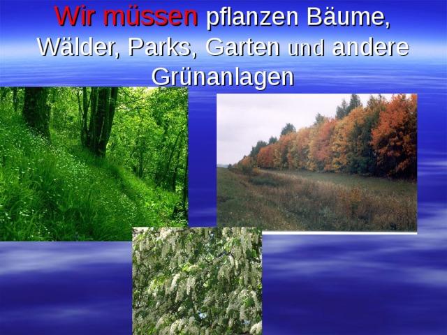 Wir müssen  pflanzen Bäume, Wälder, Parks, Garten und andere Grünanlagen