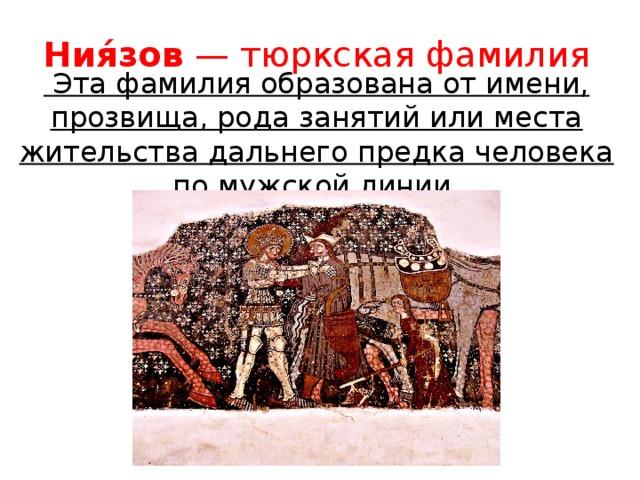 Ния́зов — тюркская фамилия  Эта фамилия образована от имени, прозвища, рода занятий или места жительства дальнего предка человека по мужской линии.