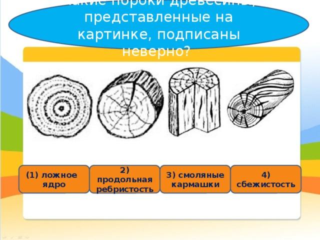 Какие пороки древесины, представленные на картинке, подписаны неверно? (1) ложное ядро 2 ) продольная ребристость 3) смоляные кармашки 4 ) сбежистость
