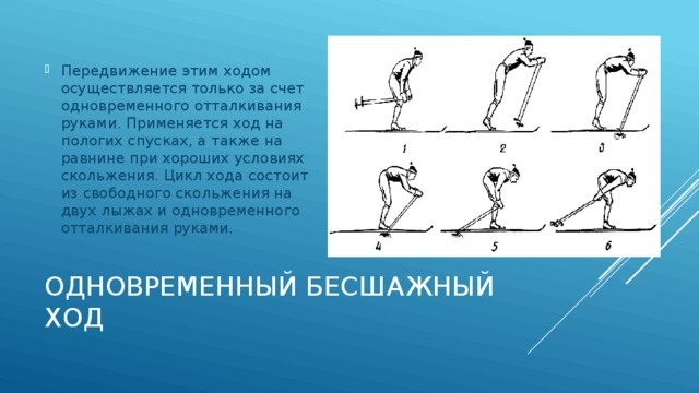 Передвижение этим ходом осуществляется только за счет одновременного отталкивания руками. Применяется ход на пологих спусках, а также на равнине при хороших условиях скольжения. Цикл хода состоит из свободного скольжения на двух лыжах и одновременного отталкивания руками.