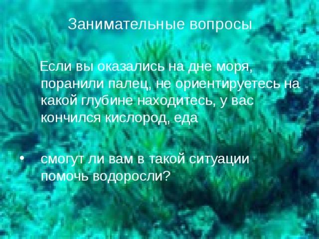 Занимательные вопросы  Если вы оказались на дне моря, поранили палец, не ориентируетесь на какой глубине находитесь, у вас кончился кислород, еда