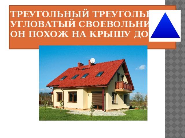 Треугольный треугольник  Угловатый своевольник.  Он похож на крышу дома