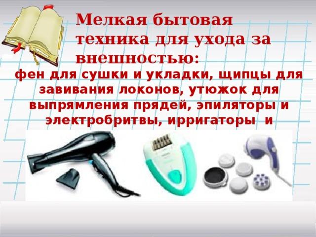 Мелкая бытовая техника для ухода за внешностью: фен для сушки и укладки, щипцы для завивания локонов, утюжок для выпрямления прядей, эпиляторы и электробритвы, ирригаторы и массажеры