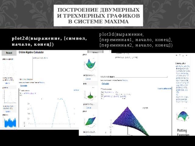 Построение двумерных и трехмерных графиков в системе Maxima plot2d(выражение, [символ, начало, конец]) plot3d(выражение, [переменная1,начало,конец], [переменная2,начало,конец])