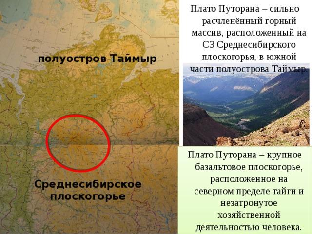 Плато Путорана – сильно расчленённый горный массив, расположенный на СЗ Среднесибирского плоскогорья, в южной части полуострова Таймыр. полуостров Таймыр Плато Путорана – крупное базальтовое плоскогорье, расположенное на северном пределе тайги и незатронутое хозяйственной деятельностью человека. Среднесибирское плоскогорье