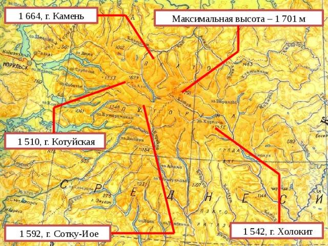 1 664, г. Камень Максимальная высота – 1 701 м  1 510, г. Котуйская  1 542, г. Холокит  1 592, г. Сотку-Иое