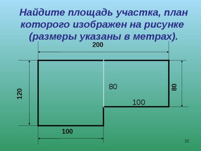 120 80 Найдите площадь участка, план которого изображен на рисунке  (размеры указаны в метрах). 200 80 100 100